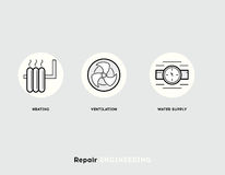 Repair Engineering. Flat Illustration Set of Line Modern Icons Stock Images