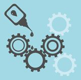 Repair of equipment. Oilcan lubricating gears Stock Photo
