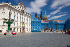 Repair of the facade on the Prague Castle. Royalty Free Stock Image