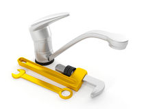 Repair faucet wrench Royalty Free Stock Photo