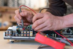 Repair and fault diagnosis of audio and video equipment.  royalty free stock image