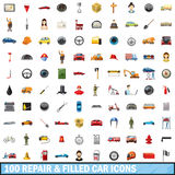 100 repair filled car icons set, cartoon style Royalty Free Stock Image