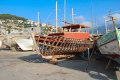 Repair of fishing boats in the Turkish port of Alanya.  stock image