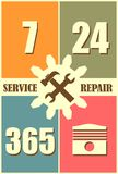 Repair fix tool icons. 24h 7 day customer support service. Cogwheel gear with wrench key. Flat icons in rectangles. Vector image Royalty Free Stock Photo