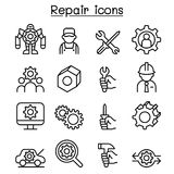 Repair, Fixing & maintenance icon set in thin line style Royalty Free Stock Images