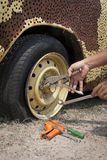 Repair flat tire Stock Photo