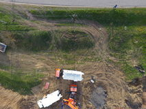 Repair of the gas pipeline section passing through the water channel. Repair work Stock Images
