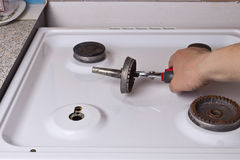 Repair gas stove Stock Photos