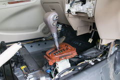 Repair a gear shift and knob, gear shift removing. Car interior. Repair a gear shift and knob, gear shift removing stock images