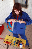 Repair girl with tools Royalty Free Stock Photos