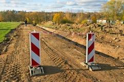 Repair of gravel road. Stock Photo