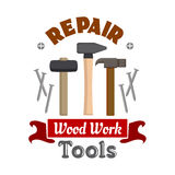 Repair hammers work tools emblem. Repair and construction emblem with work tools. Vector icon of hammer, mallet, nail puller, metal nails. Template for home Stock Photo