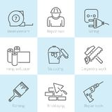 Repair home icons. Set of repair home tools and house work improvement icons in line style Stock Photo