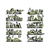 Repair home icons on shelves, sketch for your Royalty Free Stock Image