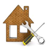 Repair home on white background. Isolated 3D illustration.  Royalty Free Stock Photography