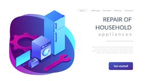 Repair of household appliances concept isometric 3D landing page. royalty free stock images