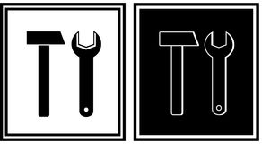 Repair icon with hammer and spanner Royalty Free Stock Image
