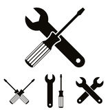 Repair icon set with wrenches and screwdrivers. Royalty Free Stock Images