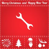 Repair Icon Vector. And bonus symbol for New Year - Santa Claus, Christmas Tree, Firework, Balls on deer antlers Stock Photos