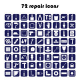 72 repair icons. Repair button vector Stock Photography