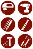 Repair icons with construction tools Stock Images
