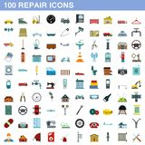 100 repair icons set, flat style. 100 repair icons set in flat style for any design illustration royalty free illustration