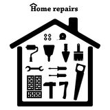 Repair icons set. Repair images vector. Repair black symbols. Royalty Free Stock Photography
