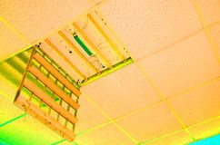 Repair and installation of fluorescent lamp equipment in the off royalty free stock photo