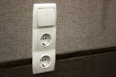 Repair, installation of sockets in the wall. finishing work in the finish. building material royalty free stock image