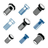 Repair instruments collection, 3d tools – screws. Construction Stock Photo