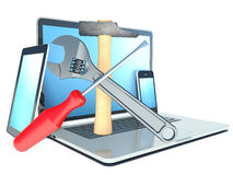 Repair laptop, tablet and phone. Screwdriver, wrench and hammer Stock Image