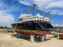 Repair of a large ship in dry dock, Cyprus Royalty Free Stock Image