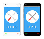 Repair logo on  smartphone screen Stock Photos