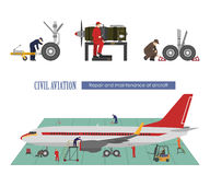Repair and maintenance of aircraft. Image of workers near the ai. Rplane in a flat style. Vector illustration Stock Photo