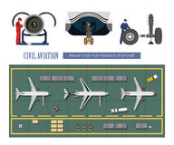 Repair and maintenance of aircraft. Service of airplane. Industrial drawing in a flat style Stock Image