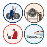 Repair and maintenance of aircraft. Set of images with engineers Stock Photo