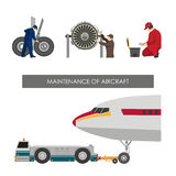 Repair and maintenance of aircraft. Set of images with engineers Royalty Free Stock Photos