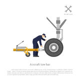 Repair and maintenance of airplane. Mechanical locks the tow bar. To the aircraft. Vector illustration Stock Photography