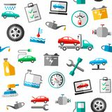 Repair and maintenance of car, seamless pattern, color, white. Royalty Free Stock Image