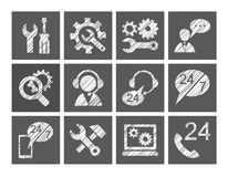 Technical support, repair, help, icons, white, grey, pencil hatching, vector. Repair and maintenance of computers and home appliances. One-color badges. Square Royalty Free Stock Photo