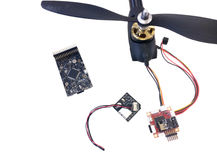 Repair maintenance drone, screws, screwdrivers, battery clamps Stock Image