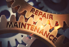 Repair Maintenance on the Golden Cogwheels. 3D Illustration. Royalty Free Stock Photo