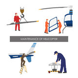 Repair and maintenance of helicopter . Set of helicopter parts i Stock Photography