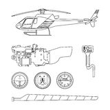 Repair and maintenance of the helicopter. Set of parts of helico Stock Photos