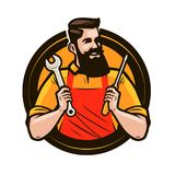Repair, maintenance logo or label. Repairman holds in hands tools a wrench and screwdriver. Cartoon vector illustration. Repair, maintenance logo or label Stock Image
