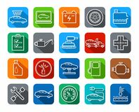 Repair and maintenance of vehicles, contour icons, colored. Stock Image