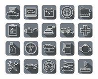 Repair and maintenance of vehicles, contour icons, gray. Stock Photography