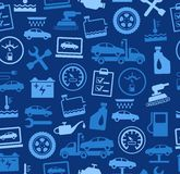 Repair and maintenance of vehicles, seamless background, blue, colored. Stock Images