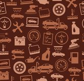 Repair and maintenance of vehicles, seamless pattern, brown. Stock Images