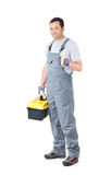 Repair man. Home repair man isolated on white Royalty Free Stock Photo